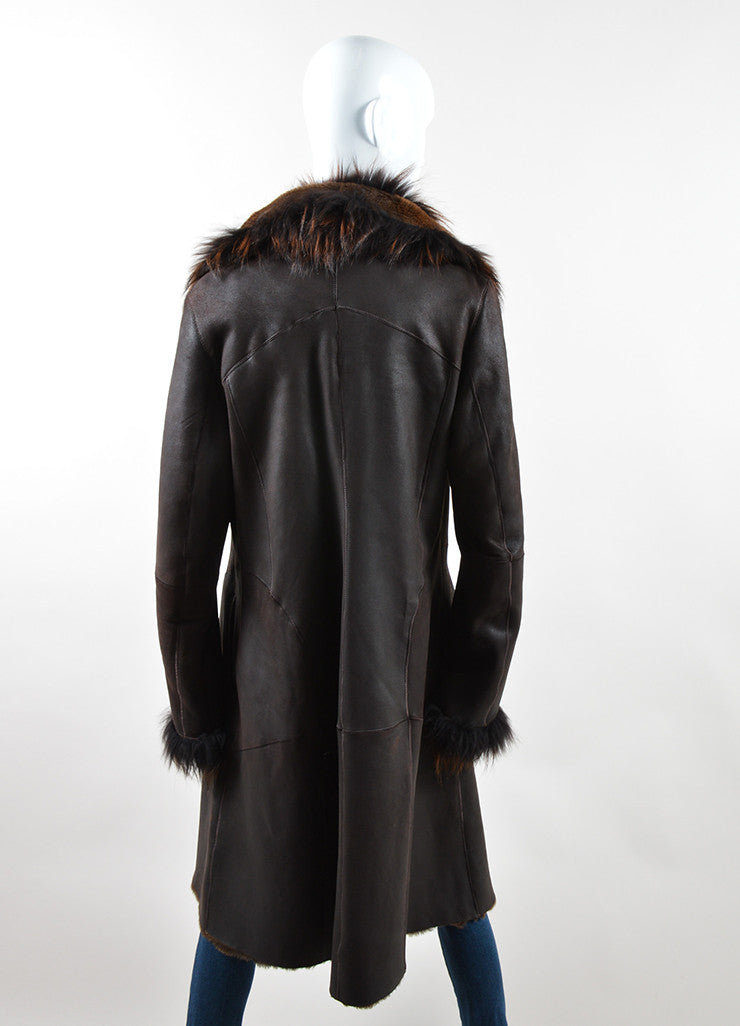 Rizal Dark Brown Shearling Long Tailored Winter Coat Backview