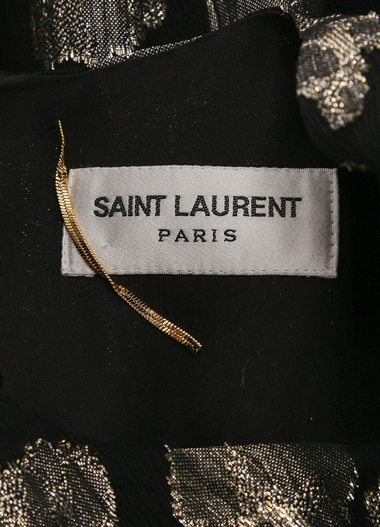 Saint Laurent New With Tags Black and Gold Silk Metallic Open Shoulder Dress Brand