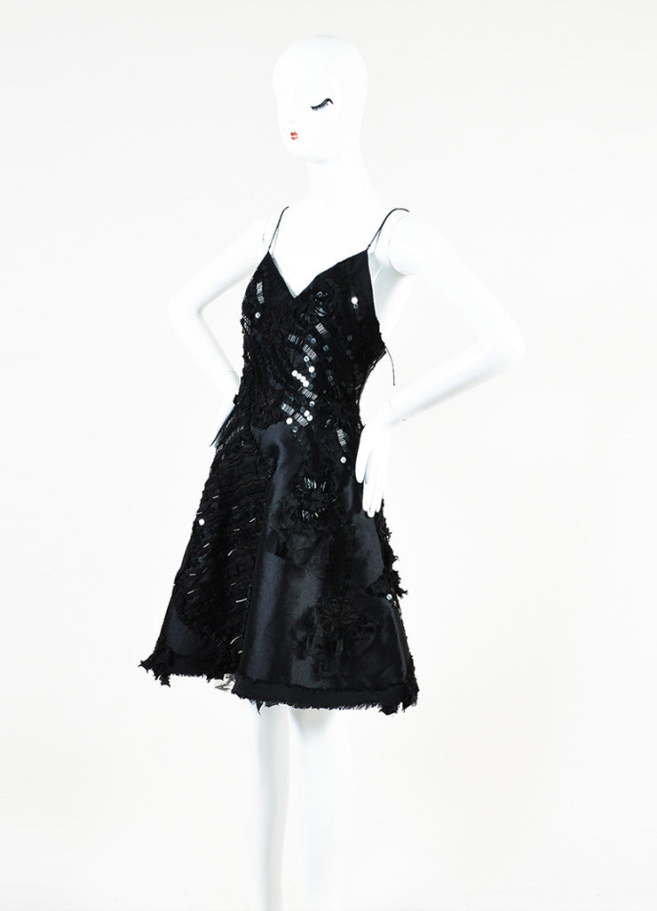 Samantha Sleeper Black Silk Sequin Beaded Fit and Flare Slip Dress Sideview