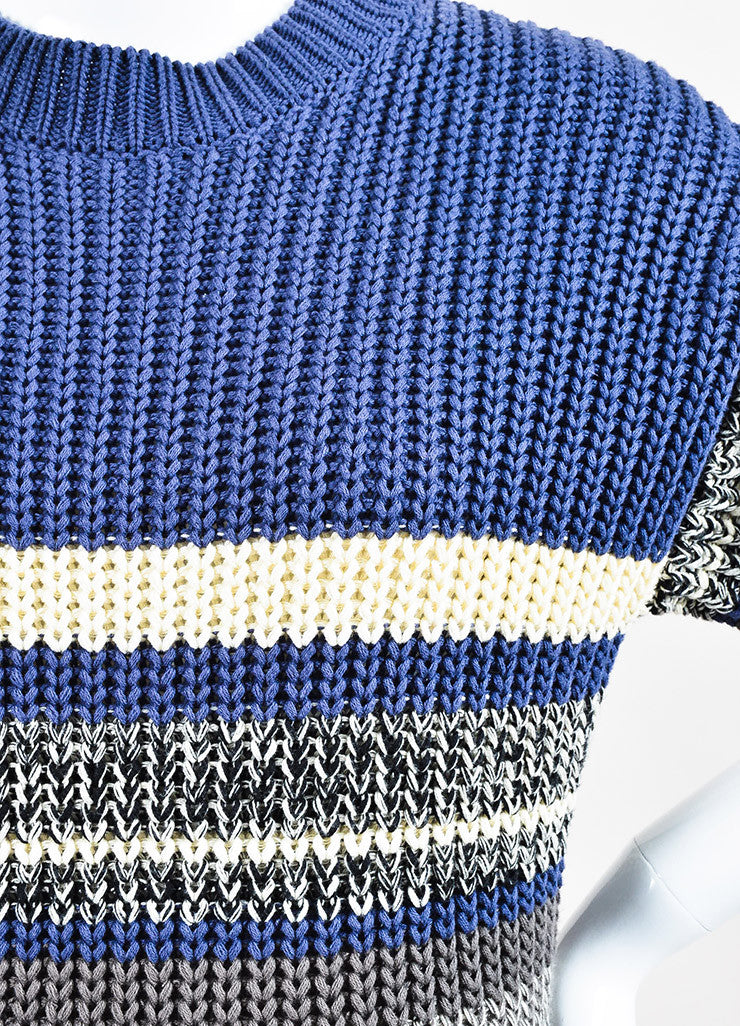 Self-Portrait Blue and Cream Cotton Knit Striped Short Sleeve Sweater Dress Detail
