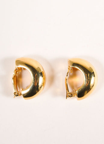 St. John Gold Toned Half Circle Wide Earrings Sideview