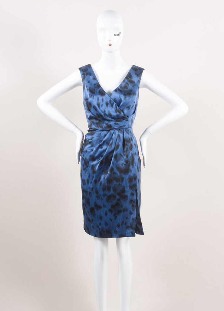 Stella McCartney New With Tags Blue and Black Silk Leopard Print Sleeveless Dress Frontview