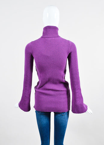Stella McCartney Fuchsia Wool Ribbed Knit Turtleneck Sweater Backview
