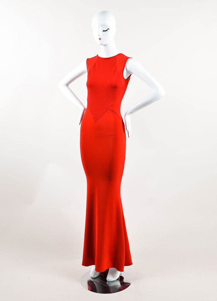 Stella McCartney Red Sleeveless Stretch Gown Sideview