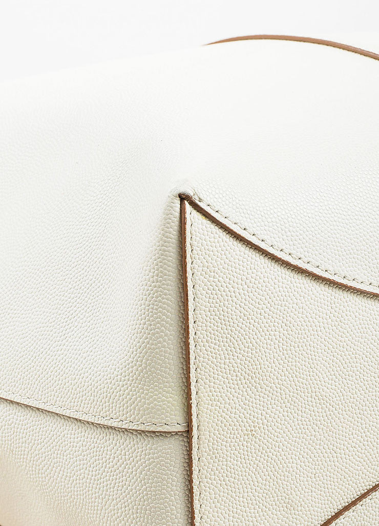 "The Row White and Brown Pebbled Leather Drawstring ""Bucket 10"" Bag Detail"