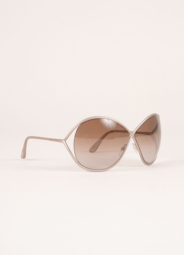 "Tom Ford Grey Metal ""Lilliana"" Butterfly Sunglasses Sideview"
