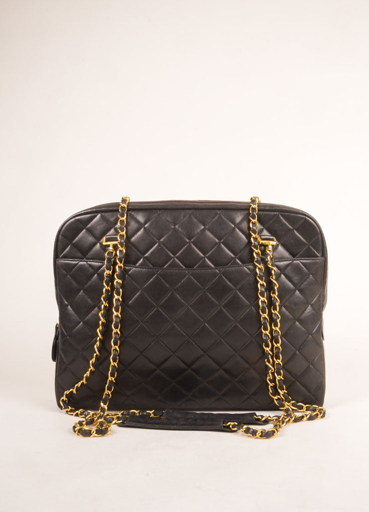 Chanel Black Quilted Leather Chain Strap Shoulder Bag Frontview