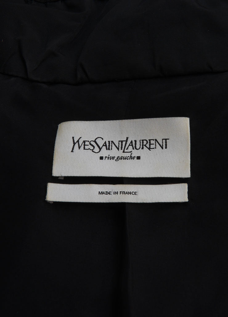 Yves Saint Laurent Black Ruched Velvet Trim Tie Jacket Brand