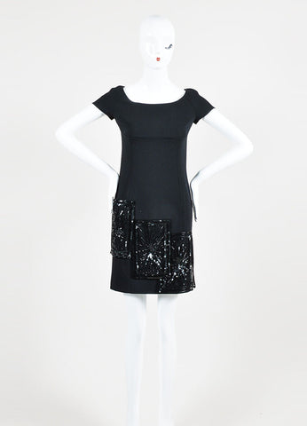 Valentino Black Wool and Silk Beaded Short Sleeve Sheath Dress Frontview