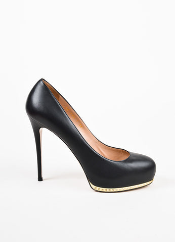 Valentino Garavani Black and Gold Toned Leather Studded Platform Pumps Sideview