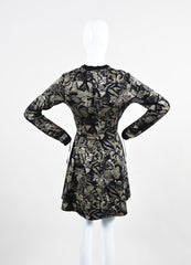 Black and Beige Valentino Metallic Floral Long Sleeve Sweater A-Line Dress Backview