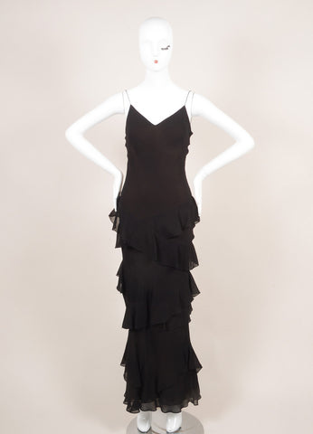 Vera Wang Black and Brown Ruffle Trim Floor Length Sleeveless Silk Gown Frontview