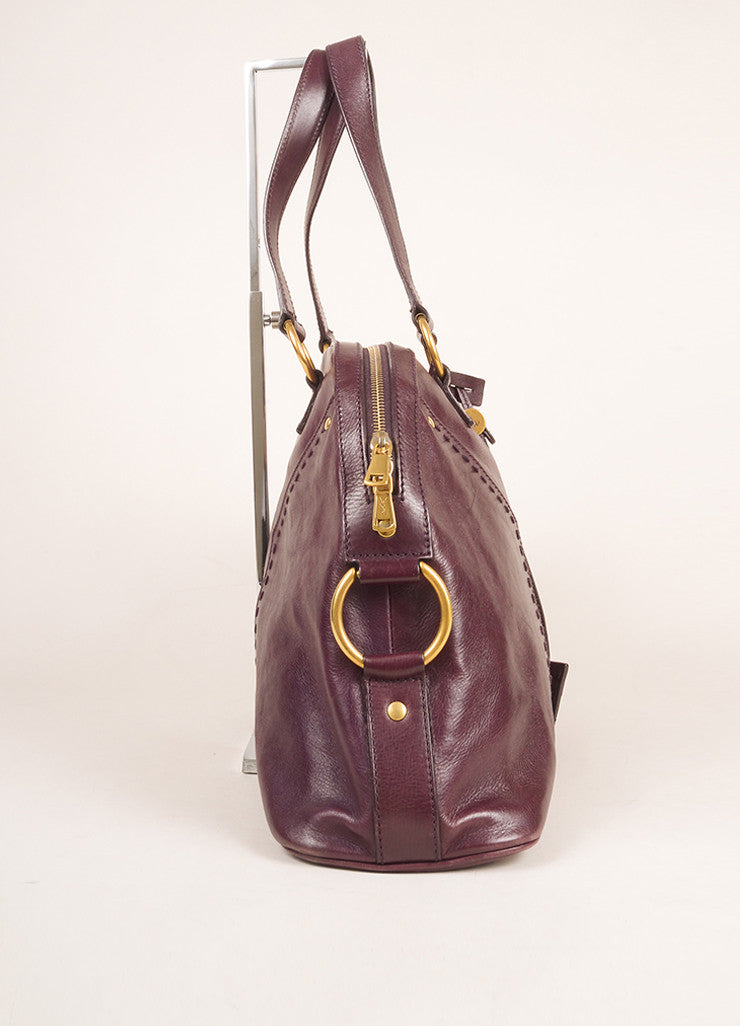 "Yves Saint Laurent Maroon Calfskin Leather Large ""Muse"" Handbag Sideveiw"