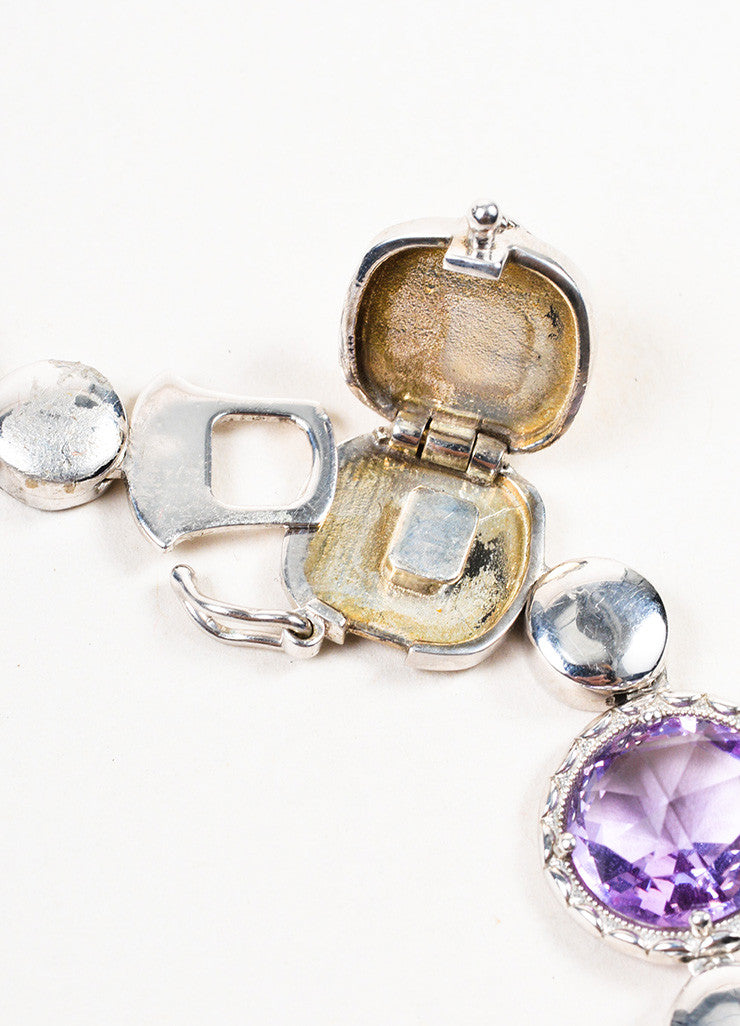 Tacori Sterling Silver, Amethyst, and Chalcedony Lilac Blossoms Bracelet Closure