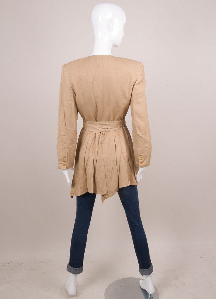 Tan Silk Wrap Jacket