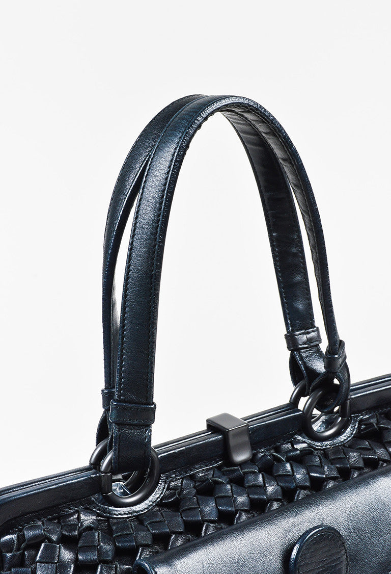 Bottega Veneta Black Leather Woven Frame Handbag