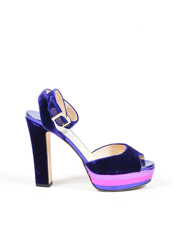 "Jimmy Choo Purple Pink Velvet Leather Metallic ""Levir"" Sandals Side"