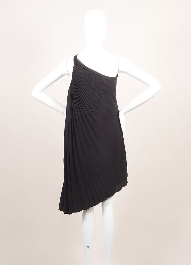 Dior New With Tags Black Silk Pleated  Asymmetrical One Shoulder Dress Backview