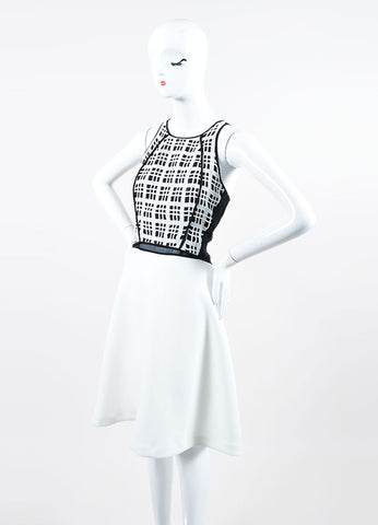 Black and White 10 Crosby Derek Lam Cotton Plaid Cut Away Fit & Flare Sleeveless Dress Sideview