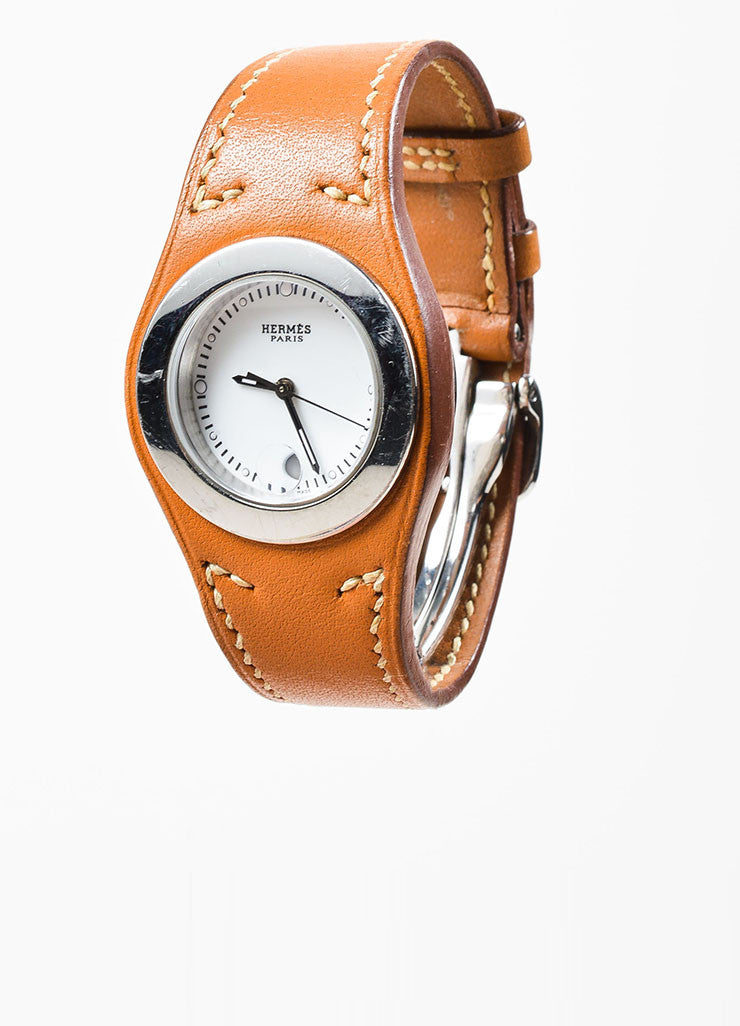"Cognac Brown Hermes Leather and Stainless Steel ""Harnais"" Watch Frontview"