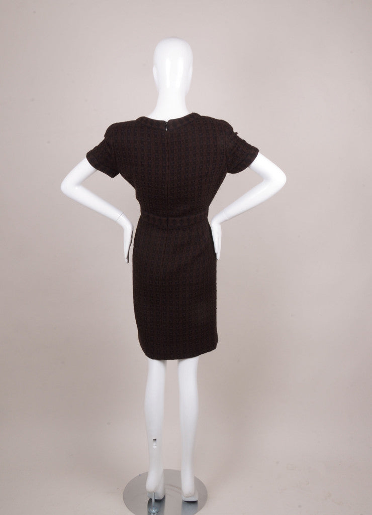 Black and Brown Wool and Alpaca Knit Short Sleeve Dress