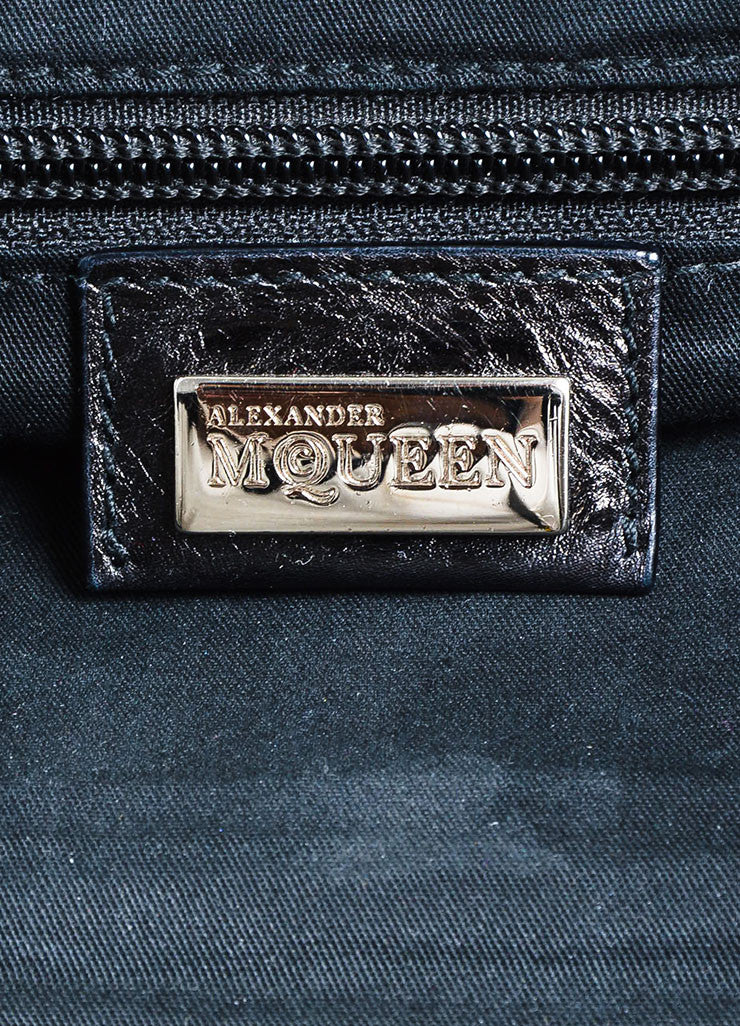 "Black Alexander McQueen Distressed Leather Pleated ""Frame"" Bag Brand"