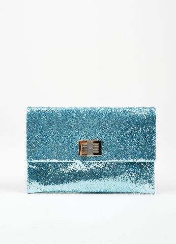 "Anya Hindmarch Aqua Blue Glitter Embellished ""Valorie"" Flap Clutch Bag Frontview"