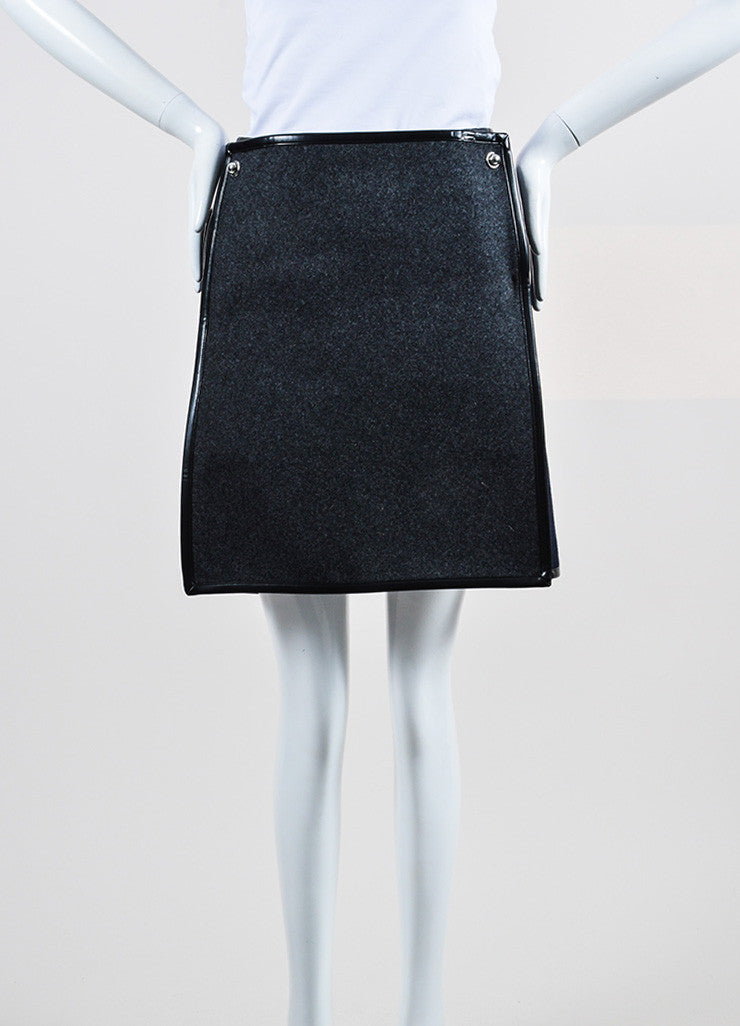 Grey, Navy, and Black Balenciaga Wool Silk Leather Trim Layered Flap Short Skirt Frontview