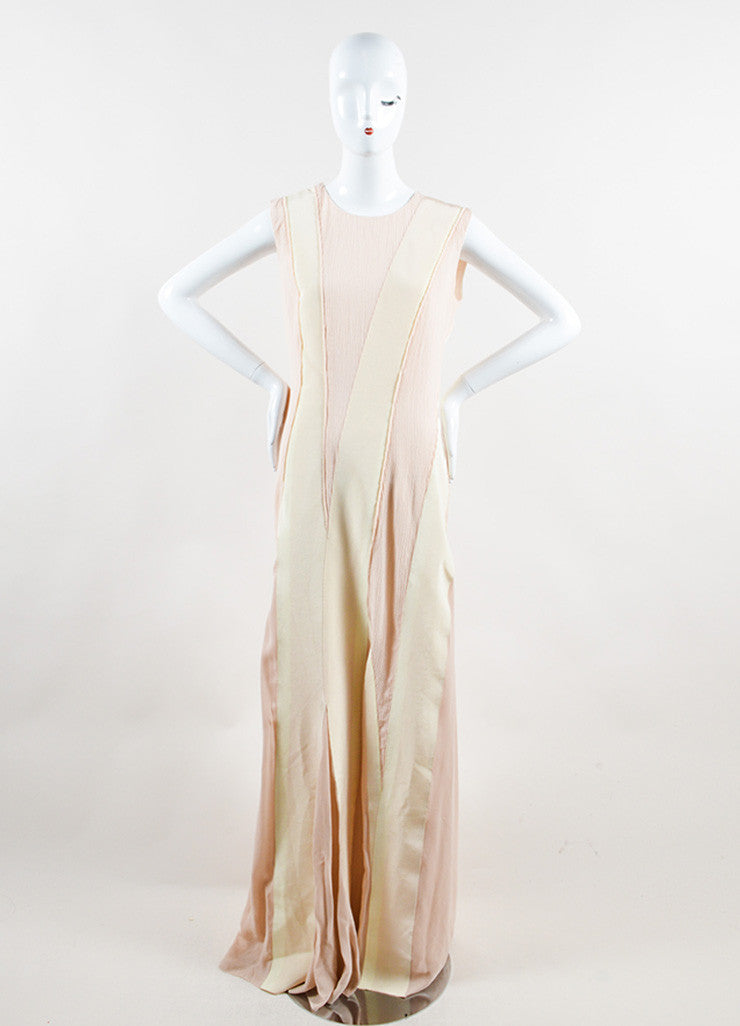 Bottega Veneta Blush and Cream Sleeveless Floor Length Evening Gown Frontview