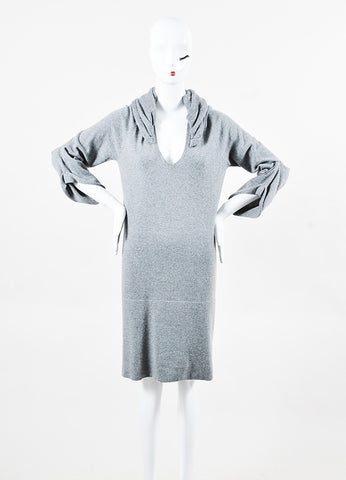 Brunello Cucinelli Gray Cashmere Sequin Hood Draped Sleeve Sweater Dress front