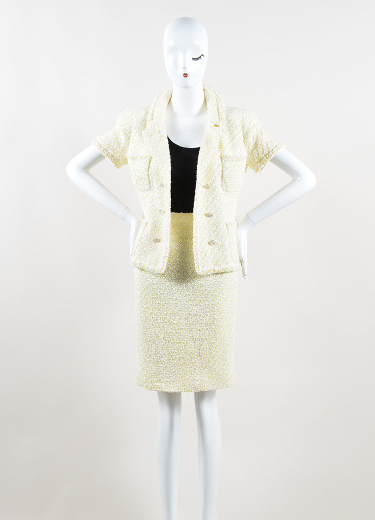 Chanel Yellow and White Woven Tweed Skirt Suit Front
