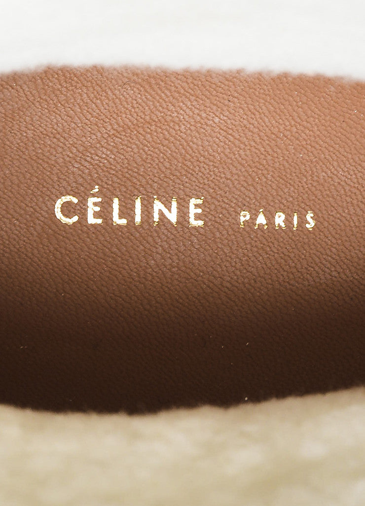 Tan Celine Suede Shearling Lined Zipper High Top Sneaker Boots Brand