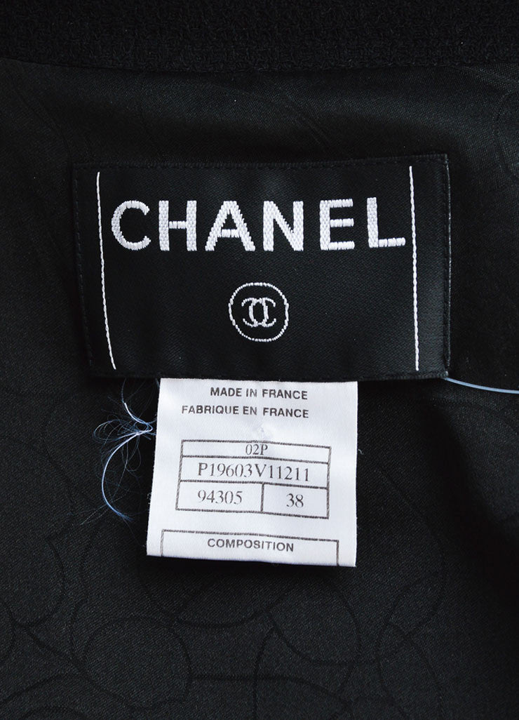 Chanel Black Wool Blend Textured Ruffle Hem Zip Jacket Brand