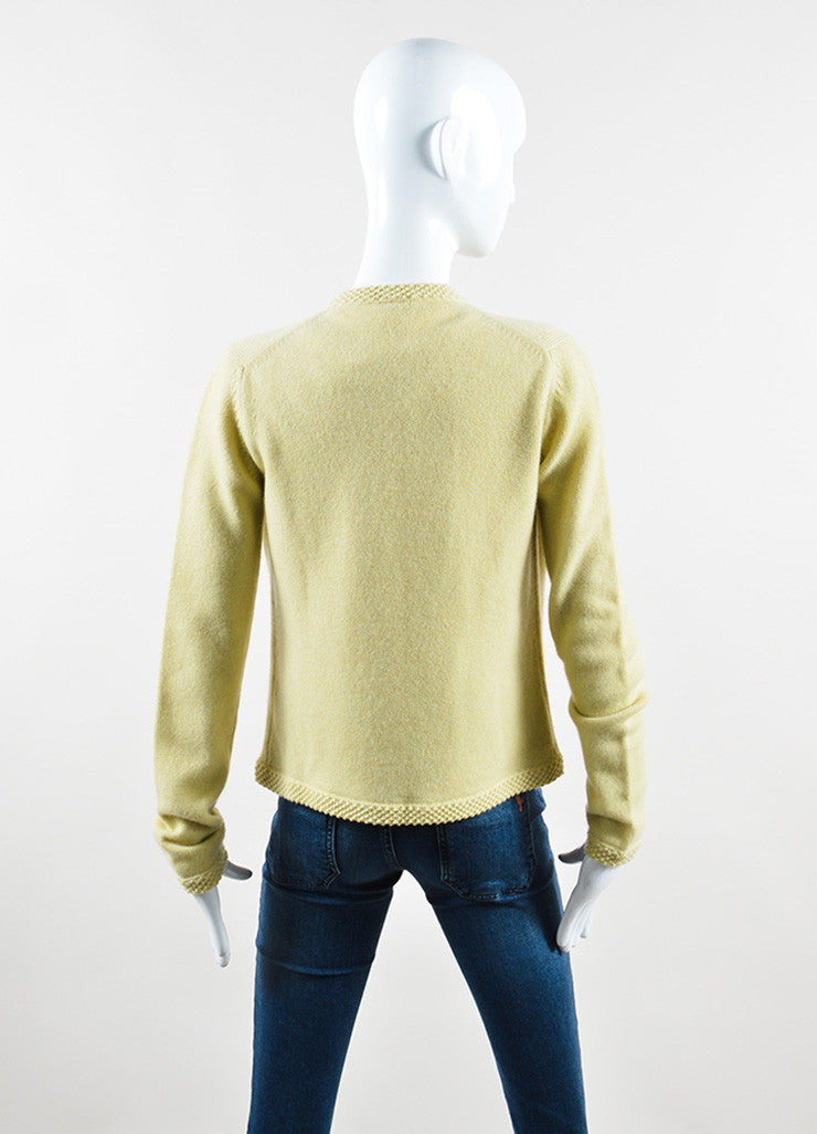 Chanel Chartreuse Cashmere Embellished Pin Cardigan and Shell Set Backview