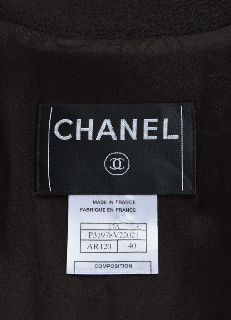 "Chanel Dark Brown Wool ""CC"" Chain Trim Belted Jacket Brand"