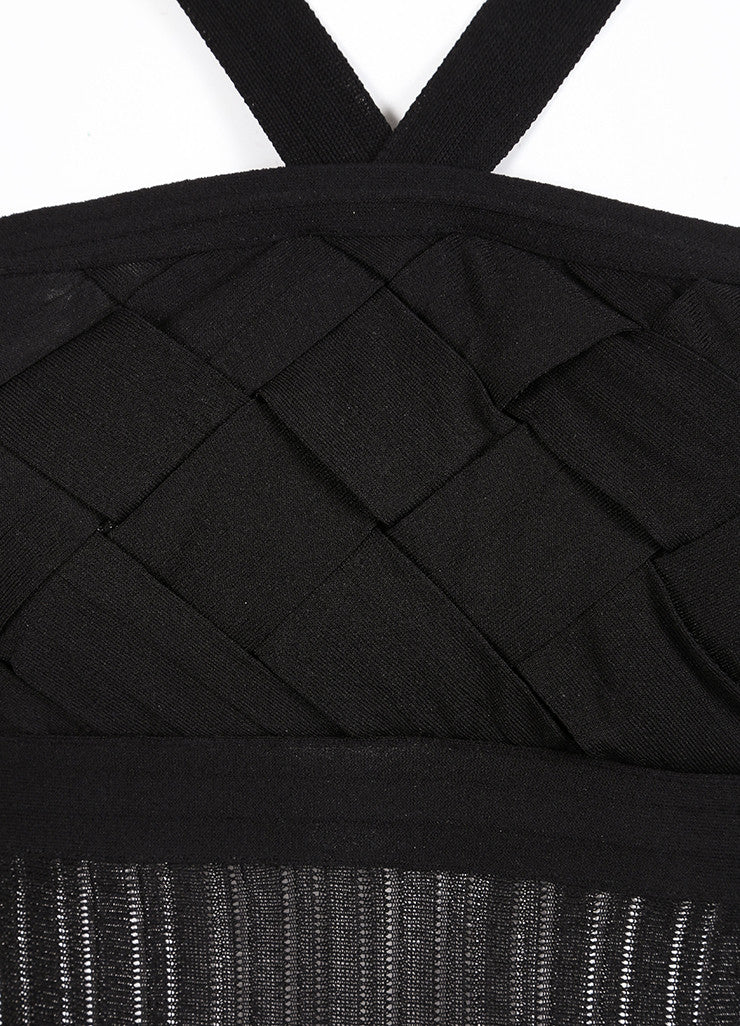 Chanel Black Knit Woven Pleated Empire Waist Sleeveless Dress Detail
