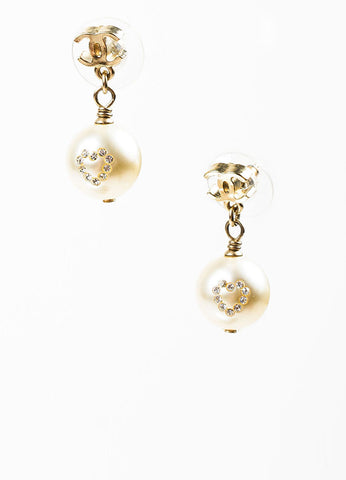 Gold Toned, Faux Pearl, and Rhinestone Heart Chanel 'CC' Logo Drop Earrings Frontview