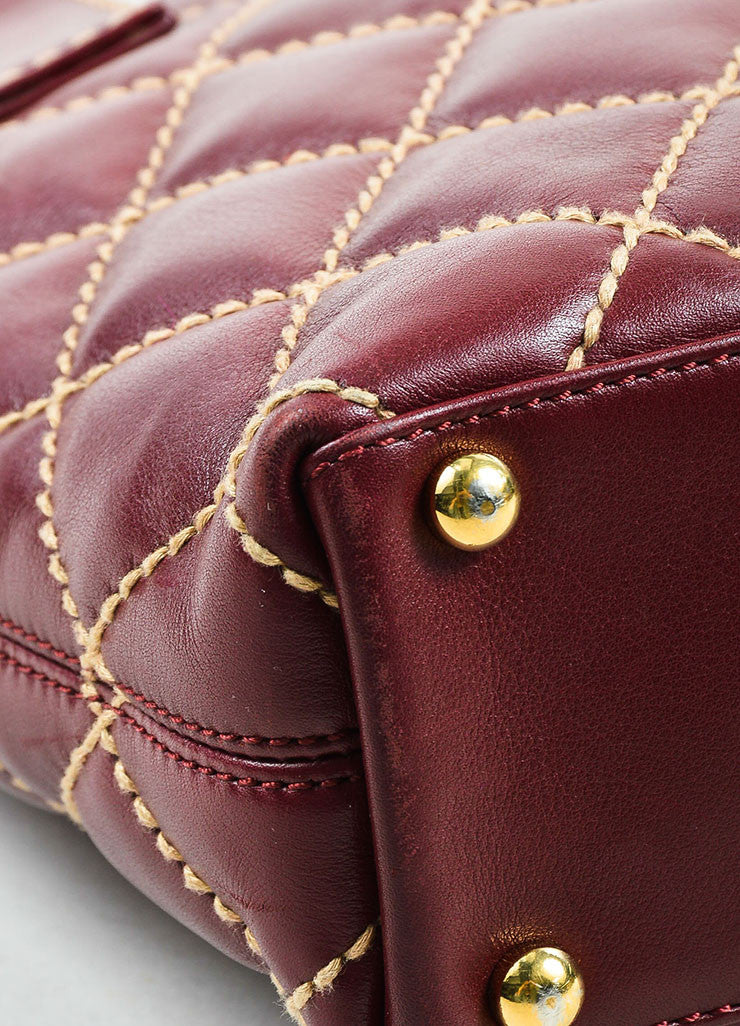 "Chanel Burgundy and Beige Leather Quilted ""Wild Stitch Small Tote"" Bag Detail"