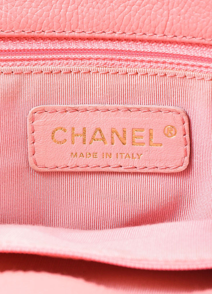 "Chanel Pink and Gold Toned Pebbled Leather 'CC' Turnlock ""Cerf"" Tote Bag Brand"