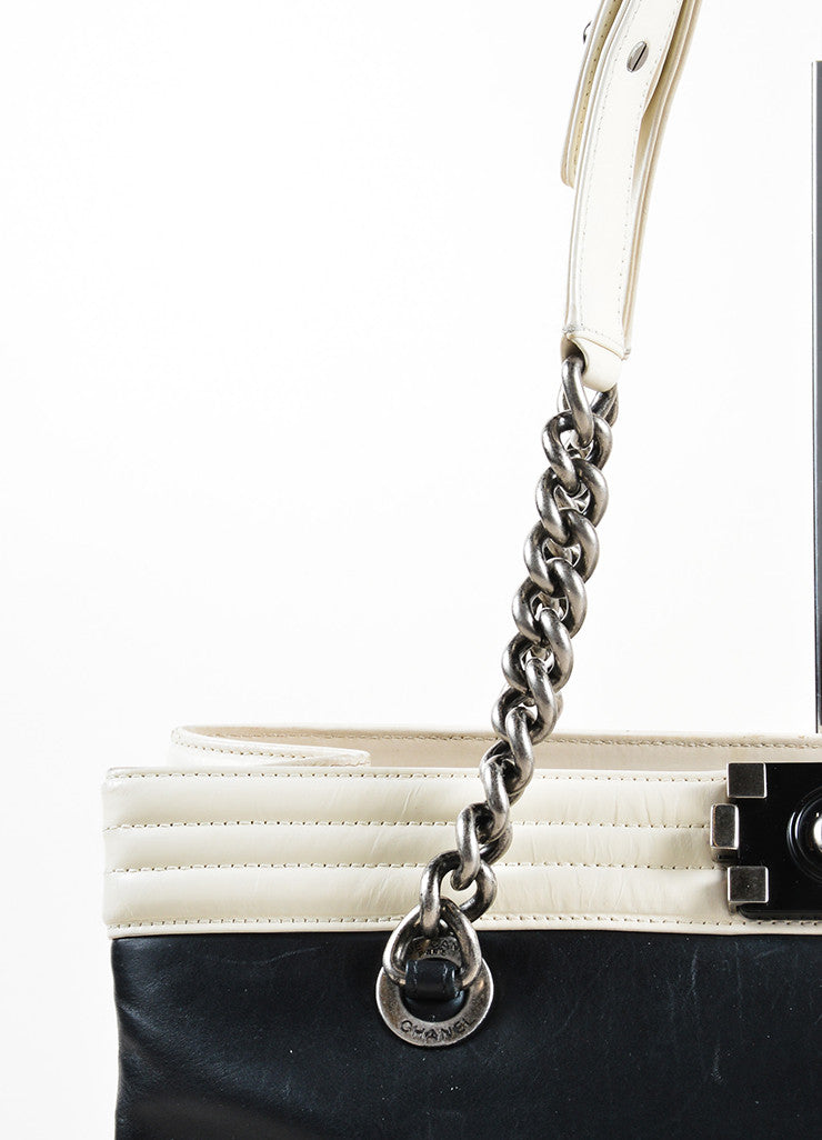 "Chanel Black and Cream Leather Quilted Trim Chain Strap ""Boy"" Shopper Tote Bag Detail 2"