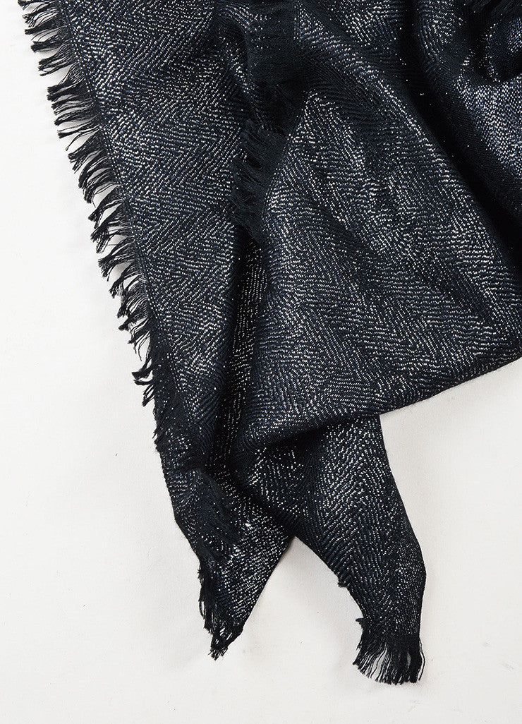 Chanel Black and Metallic Silver Cashmere Blend 'CC' Detail Fringe Edge Scarf Detail