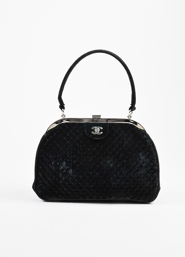 Chanel Black Quilted Velvet Silver Toned Frame Evening Bag Frontview