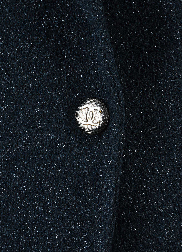 Chanel Black Textured Knit 'CC' Logo Button Jacket Detail