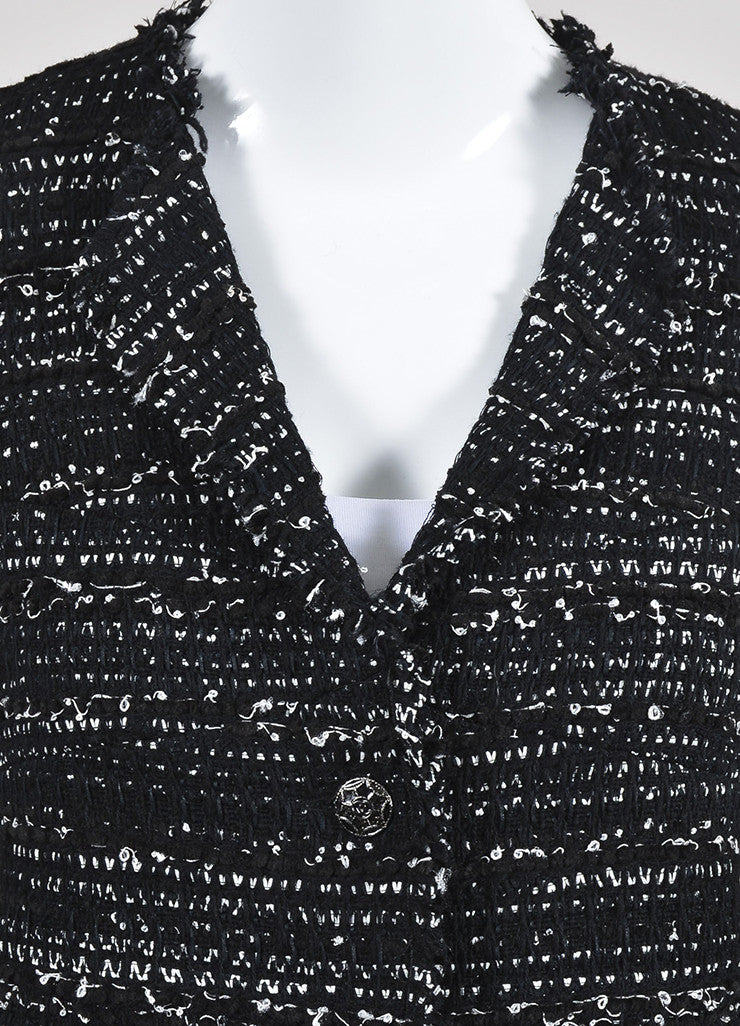 Black and White Chanel Tweed Two Button Jacket Detail