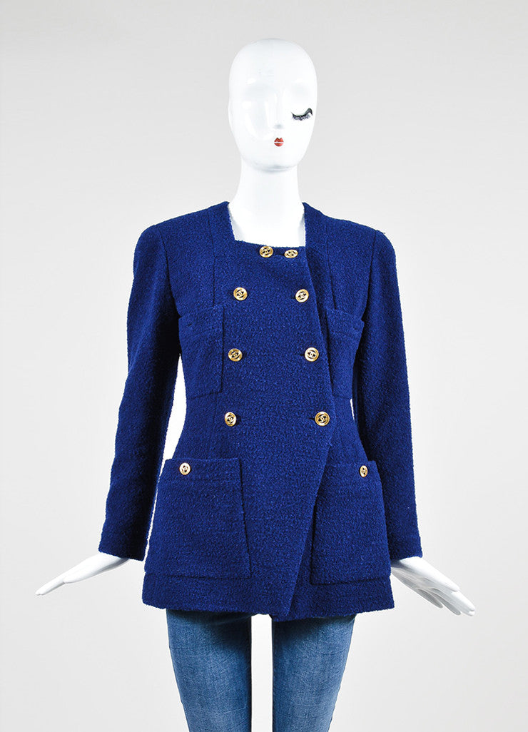 Blue Chanel Tweed Double Breast Jacket and Skirt Suit Jacket