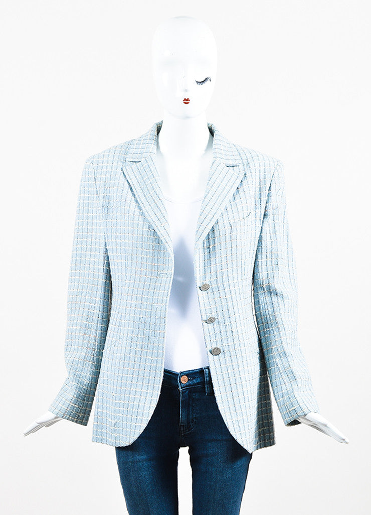 Chanel Light Blue and Multicolor Wool Tweed Plaid Collared Jacket Frontview