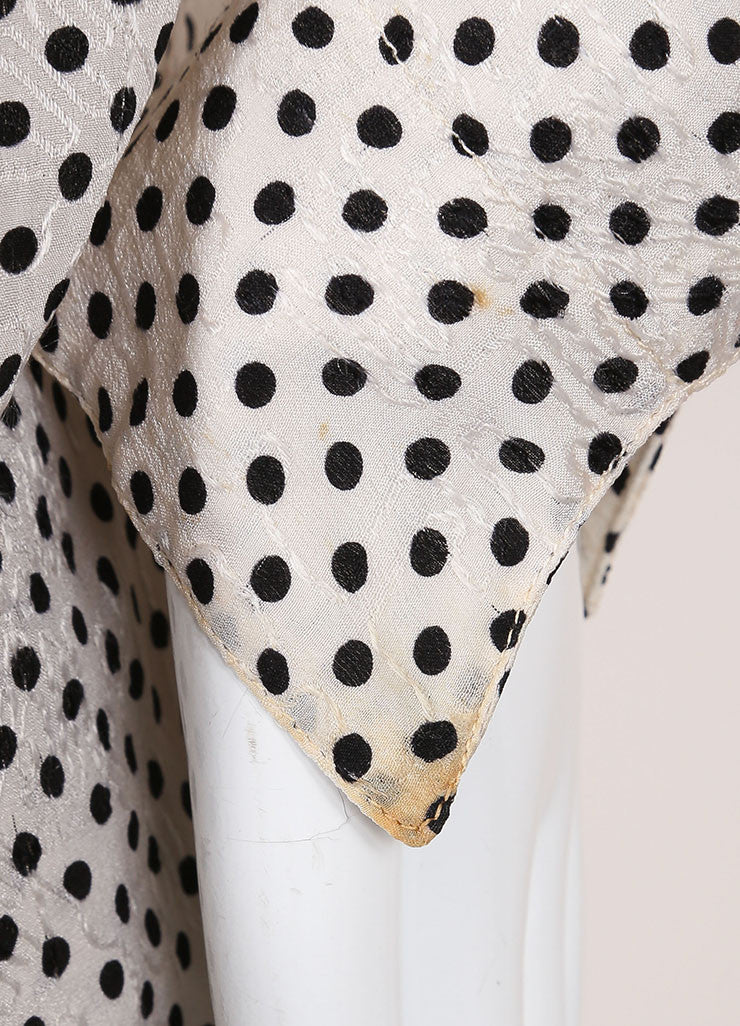 Chanel Cream and Black Silk Jacquard Polka Dot Print Blouse Top, Skirt and Scarf Set Detail 4