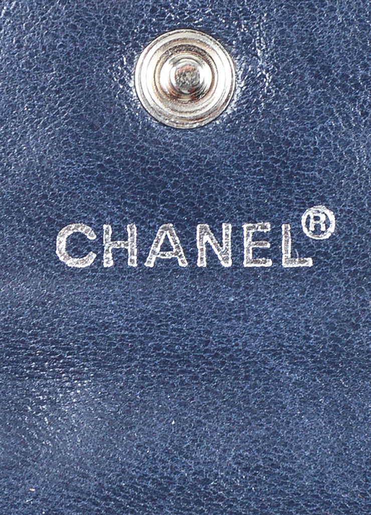 Navy and Silver Toned Chanel Lambskin Leather Fold Over Quilted Wallet Brand