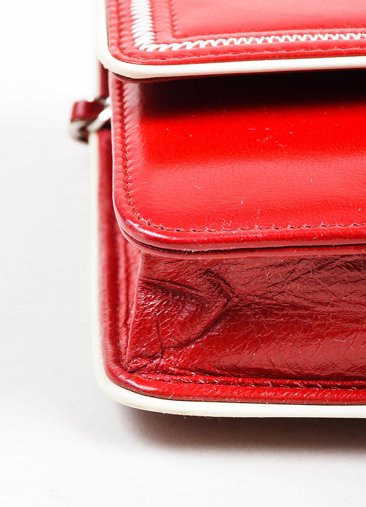 Red and White Leather Chanel Reissue Wallet On Chain Detail