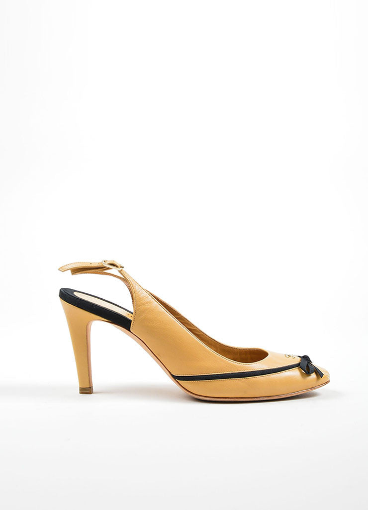 Tan and Black Chanel Leather Almond Toe Slingback Bow Pumps Sideview